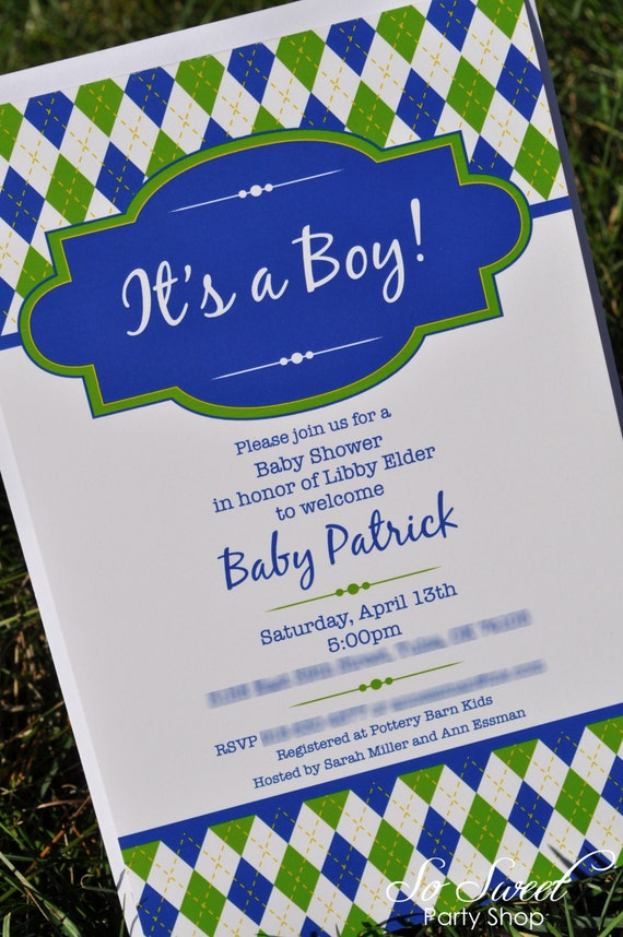 Argyle Invitations - Birthday or Baby Shower Invitations - Boys ...
