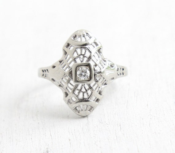 RESERVED for Katy - SALE - Antique 10K White Gold Diamond Ring - Art Deco 1920s Size 6 Engagement Shield Design Fine Jewelry