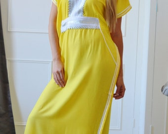 Yellow Caftan Kaftan Resortwear -Luxury loungewear, resortwear,spa robe, great for beach cover up, honeymoon, Birthdays or Maternity Gifts