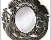 Metal Mirror Wall Hanging - Mermaid Art Design - Metal Wall Mirror - Decorative Mirror - Haitian Metal Art - Recycled Steel Drum, J-112-M