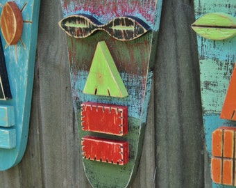 Wood Sculpture,Tiki Mask, Primitive Wall Hanging, Tiki Man, Rustic Beach House, Tiki Bar