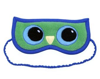 Owl Sleep Mask, Animal sleeping eye mask, Cute green bird eyemask, Big blue eyes, Graduation gift, Birthday owl, Party favor, Wisdom & Sprit