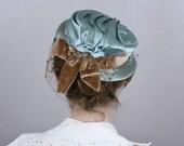 1950s hat BLUE SILK veiled satin tilt hat