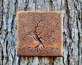 Tree of Life Bronze Stone Sculpture, Garden Decor, Tree Garden Art Wall Plaque, Outdoor Wall Art, Tree Garden Gift