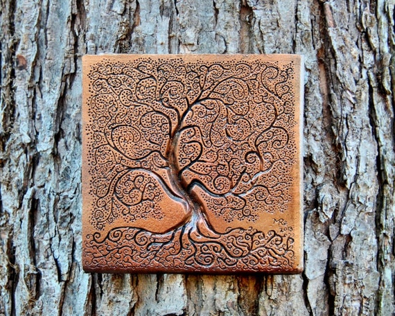 Stone Wall Art : Tree of life bronze stone sculpture garden decor