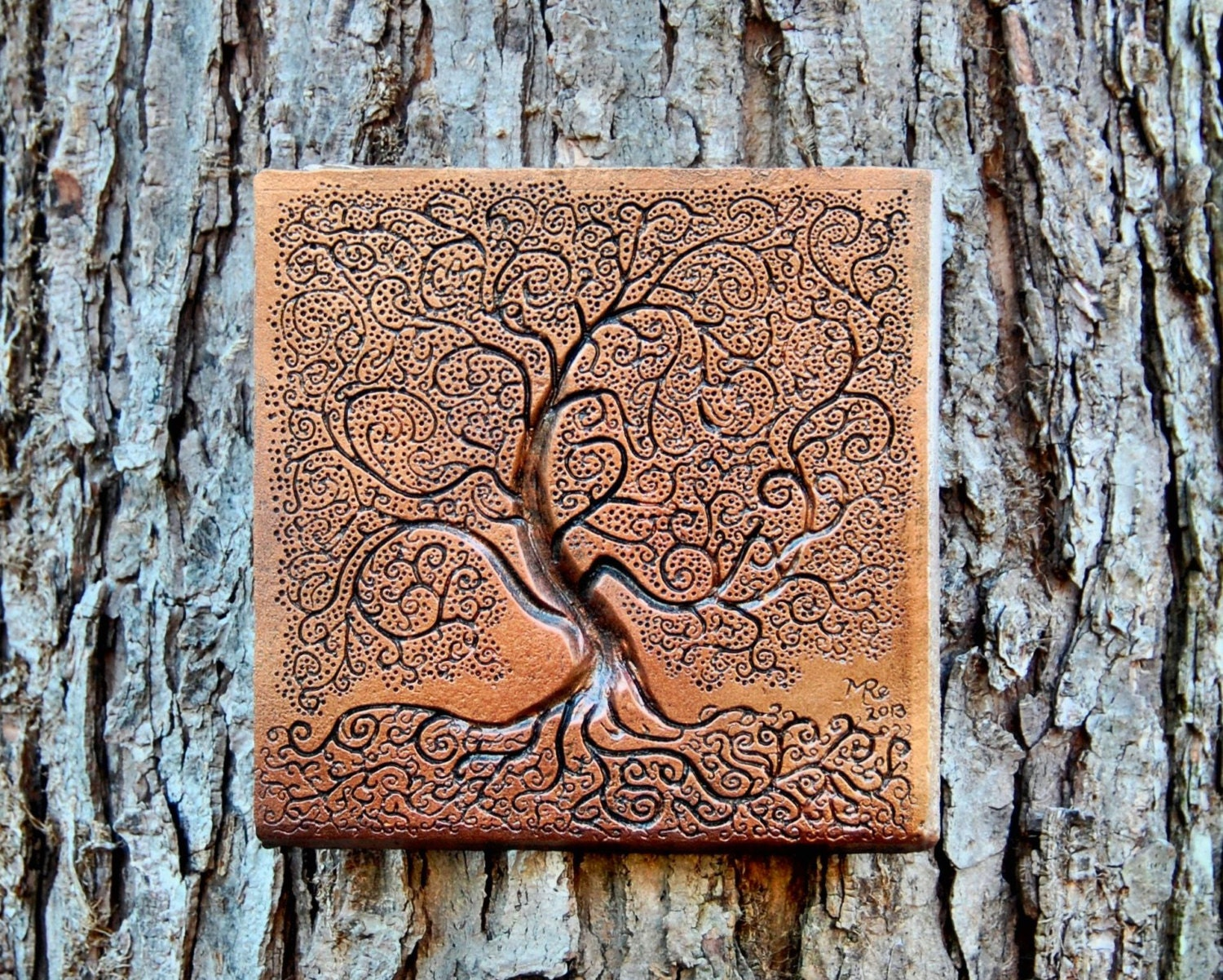 Tree of life bronze stone sculpture garden decor tree garden for Stone wall art