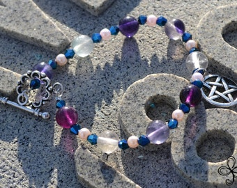 Amethyst and Blue Pentacle Bracelet