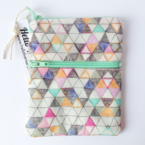 geometric pouch - multiple pocket purse - handmade