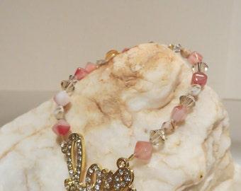 Stretch Gold & Rhinestone Love Bracelet