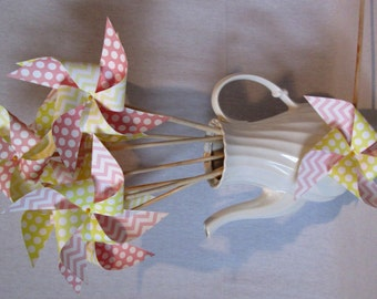 Paper Pinwheels Perfect for an Alice in Wonderland Party Summer Party or Birthday Party or a Baby Shower or a Bat Mitzvah or Wedding