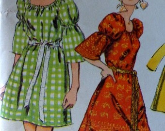 70s Boho Dress Pattern Simplicity 8824 Mini Dress w Sleeve Variations & Sash Bust 38 Pants