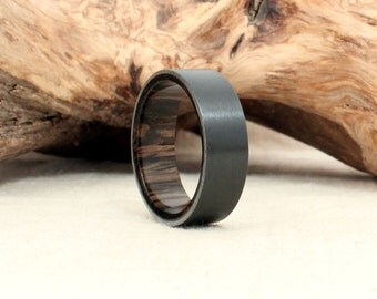 Black Zirconium Wood Ring Lined with Ancient Russian Bog Oak