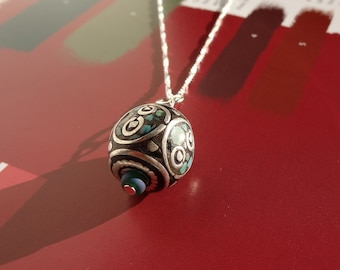 Turquoise Pendant Necklace, Tibetan Glass Bead, on Sterling Silver Chain. Gift For Her, Modern Jewelry, Gifts Under 75