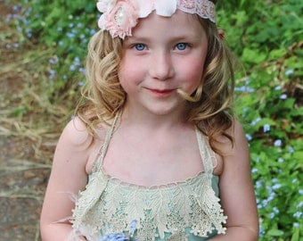 pink ivory headband- shabby chic headband-flower girl headband- blush headband -girl- adult-vintage inspired headband- photo prop, bridal