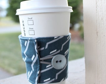 Reusable Male-Friendly Coffee Sleeve / Coffee Cozy - Side Step in Charcoal - Fabric Cup Holder - Java Jacket by CK Stitches - Unique Gift