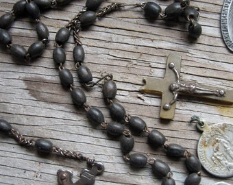 vintage religious medals and rosary - french