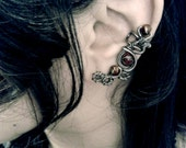 Demon Eye Ear Cuff - Macabre and Cyberpunk inspired cartilage cuff in Red
