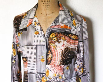 Very Vintage Patchwork Floral Groovy Button Front Blouse