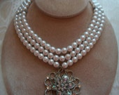 Vintage Pearls,  3 Strands of White Pearls with Silver and Jeweled Flower Shaped Pendant, by Nanas Vintage Shop on Etsy