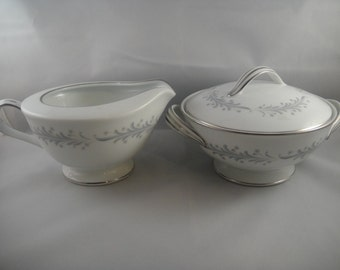 Noritake Cavalier Creamer and Covered Sugar Gray Flower Sprig Japan 6104