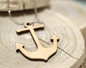 Sailor Anchor Navy Wooden Acrylic Laser Cut Necklace w/Chain
