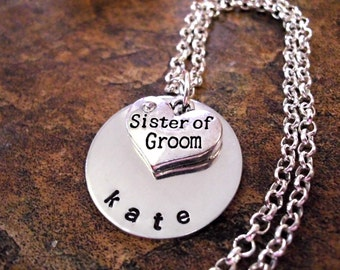 Sister of the Groom Jewelry, Sister of the Groom Necklace, Personalized Jewelry, Hand Stamped Jewelry