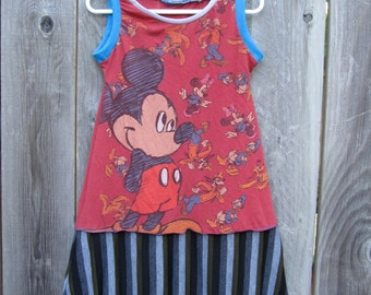 Mickey And Friends Upcycled Tank Dress Size 3/ 4