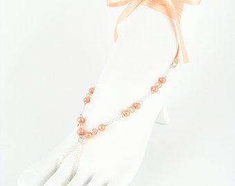 Foot jewelry, beach wedding, coral jewlery, bottomless sandals, festival wear, beach shoes, wedding sandles. AMANDA Coral