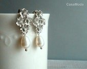 Bridal Pearl Earring In Matte Silver Four Flowers With Cubic Zirconia And White Teardrop Pearls