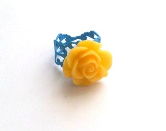 Yellow resin cabochon rose ring atop blue painted adjustable filigree mother's day gifts bridesmaid wedding high fashion gift for her women