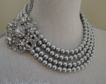 Gray Pearl Statement Necklace Set with Rhinestone Brooch 4 Multi Strands Swarovski Grey Pearls bridal wedding jewelry Mother of the Bride