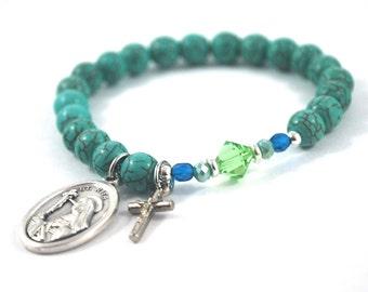 Saint Rita turquoise bracelet St Rita bracelet gemstone + crystal saint bracelet Confirmation saint bracelet catholic bracelet Religious