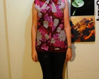 M Vintage 70s Sheer Floral Sleeveless Shirt