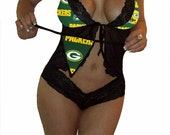 NFL Lingerie Green Bay Packers Sexy Cami Top and Lace Booty Shorts Set Plus FREE Matching G-String Thong Panty
