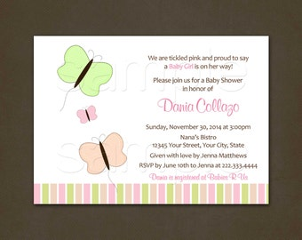 Butterflies Baby Shower Invitations, Printable File, Pastels