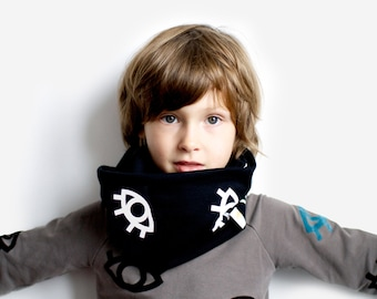 All Eyes, infinity Scarf, Kids. Double warm jersey scarf boy girl handmade winter fall