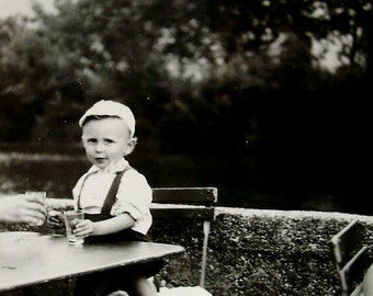 Vintage French Photograph - Child at a Table with a Glass