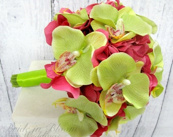 Bridesmaid Bouquet Wedding bouquet hot pink hydrangea lime green orchids