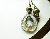 Glass Oval Light/ Fan Pull Chain, Decorative Fan Pull, handmade by gviolet