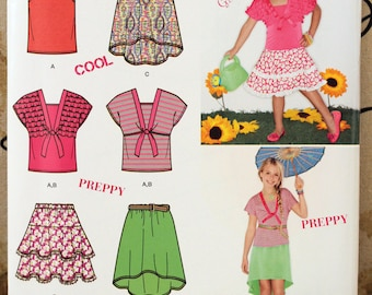 Toddler Girl Size 3 4 5 6 Simplicity 1675 Skirt Knit Top Shirt Blouse Bolero Wardrobe  Kids Sew Sewing Pattern UNCUT