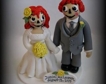 Wedding Cake Topper, Custom Wedding Topper, Raggedy Ann Inspired, Wedding Cake Topper, Bride and Groom, Personalized, Polymer Clay, Keepsake