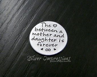 Floating Locket Plate / The love between a mother and daughter is forever  / Floating Locket Charms / works in all Large 30mm Lockets
