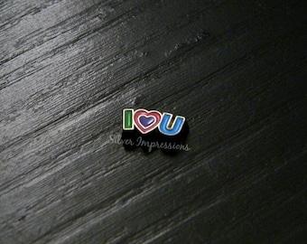 I love you locket charm / I heart you / Floating Locket Love charm /  Memory Locket Charm