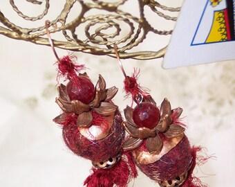 Queen of Hearts earrings, Ruby Jade lotus blossom crown dangle, red wool felt pompoms, copper bead caps, lampwork glass headpins, SRAJD