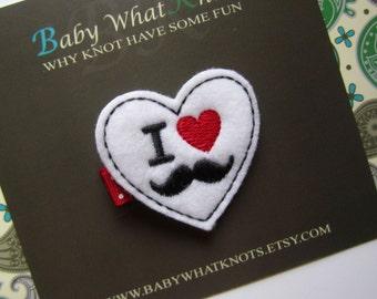 I Love Mustache Hair Clip, I Heart Mustache Baby Hair Clippies, Mustaches Girl Barrette, hciheart05