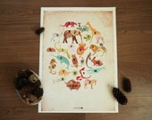 A2 size Animals Alphabet Poster in vintage style