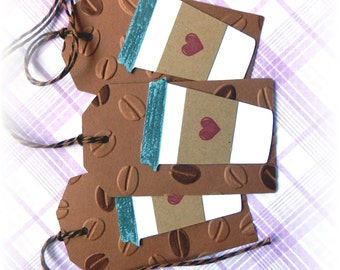 Coffee Tags - Coffee Cup w/ heart - Thanks a Latte Gift/Hang Tags (6)