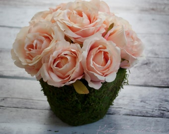 Blush Pink Rose Centerpiece - Pink Rose and Moss Wedding Centerpiece