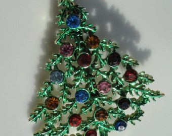 Christmas tree brooch, Rhinestone tree brooch, tree jewelry, Christmas tree jewelry, vintage jewelry