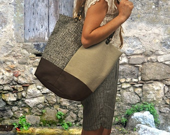 Tricoloured canvas  tote,Shopping bag, shoulder bag made in fabric- leather,  named Margarita,made to order